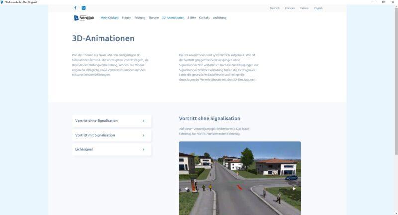 Lernsoftware - 3D-Filme für die Kategorien, führen an reale Verkehrssituationen heran