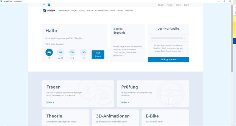 Online Lernsoftware - Cockpit Übersicht Lernprogramm