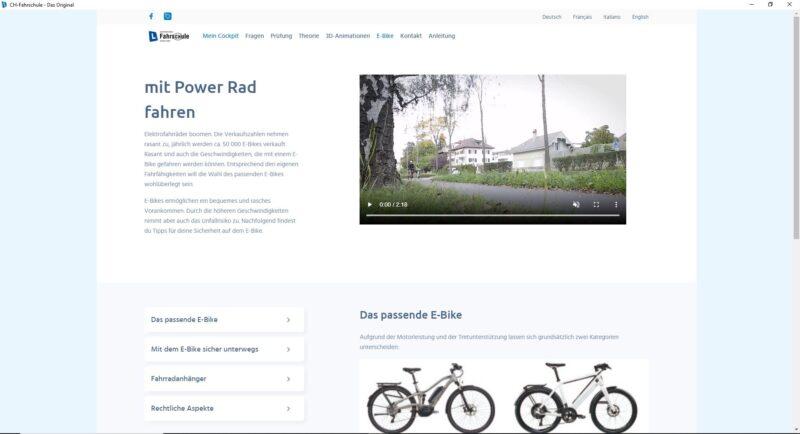 Online Lernsoftware - E-Bike Kategorie mit Informationen, Checkliste und Präventionsvideo der bfu