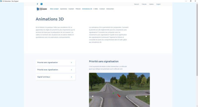 Animations 3D – pour vous mettre en situation réelle de conduite