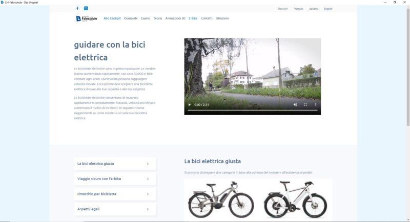 Software di apprendimento -Informazioni sulla categoria E-Bike con checklist e video preventivo del upi