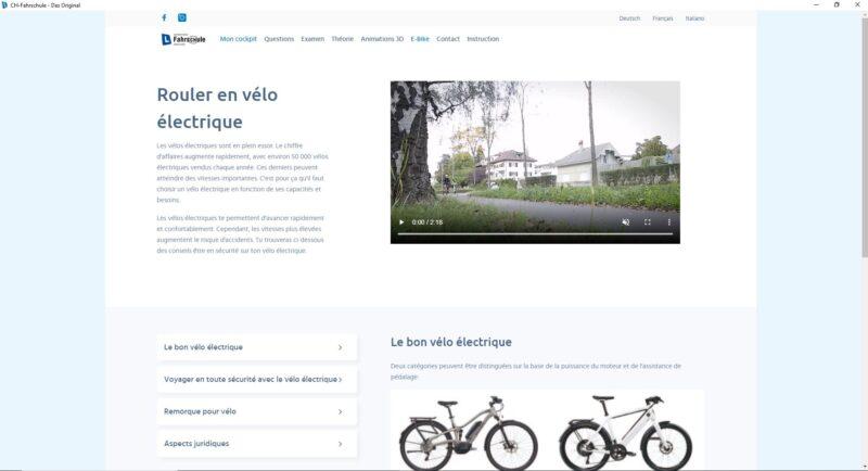 Logiciel d'apprentissage - Informations sur la catégorie E-Bike avec liste de contrôle et vidéo de prévention du bpa